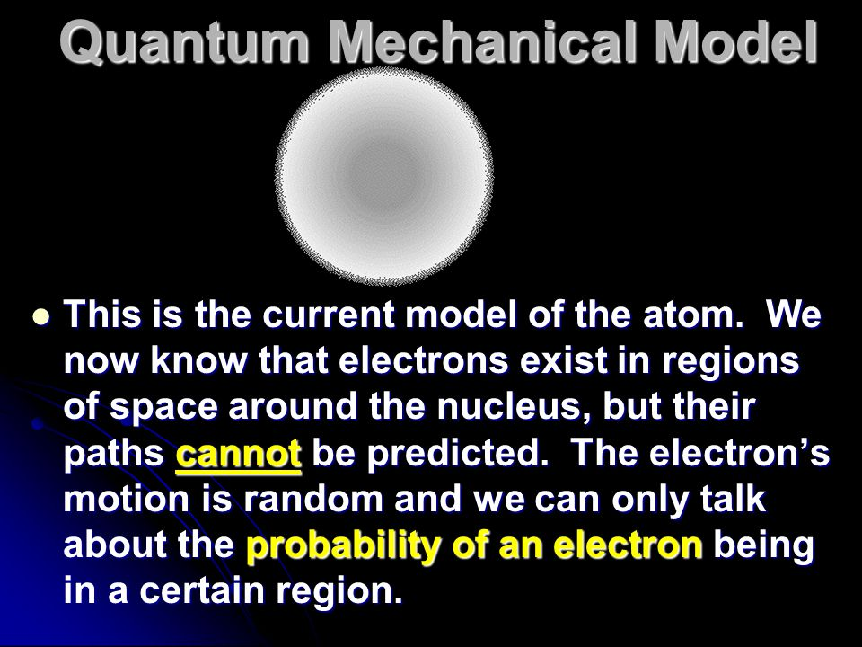 This is the current model of the atom. We now know that electrons exist in regions of space around the nucleus, but their paths cannot be predicted. T