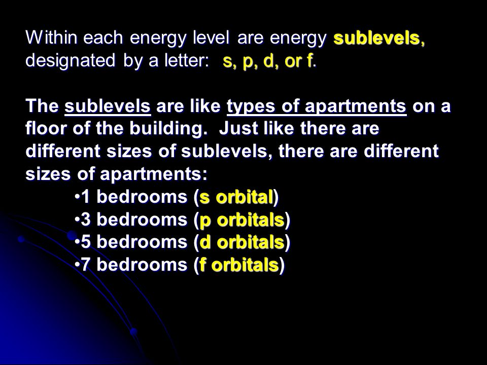 Within each energy level are energy sublevels, designated by a letter: s, p, d, or f. The sublevels are like types of apartments on a floor of the bui
