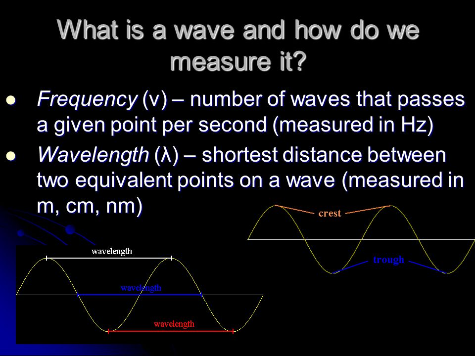 What is a wave and how do we measure it? Frequency (ν) – number of waves that passes a given point per second (measured in Hz) Frequency (ν) – number