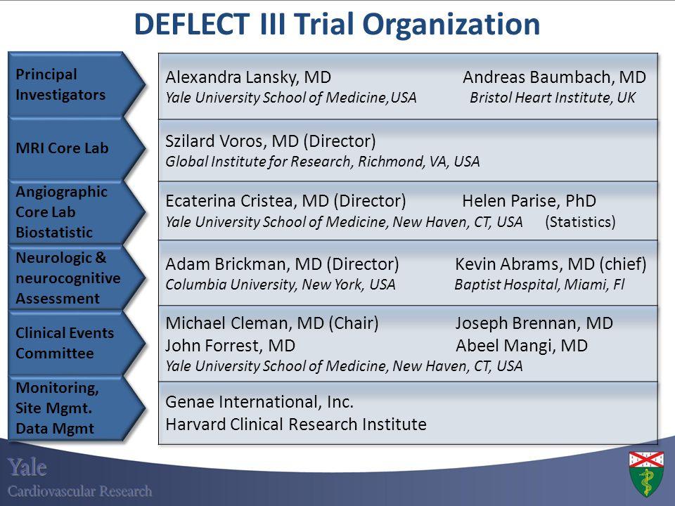 Principal Investigators Principal Investigators DEFLECT III Trial Organization MRI Core Lab Angiographic Core Lab Biostatistic Angiographic Core Lab B