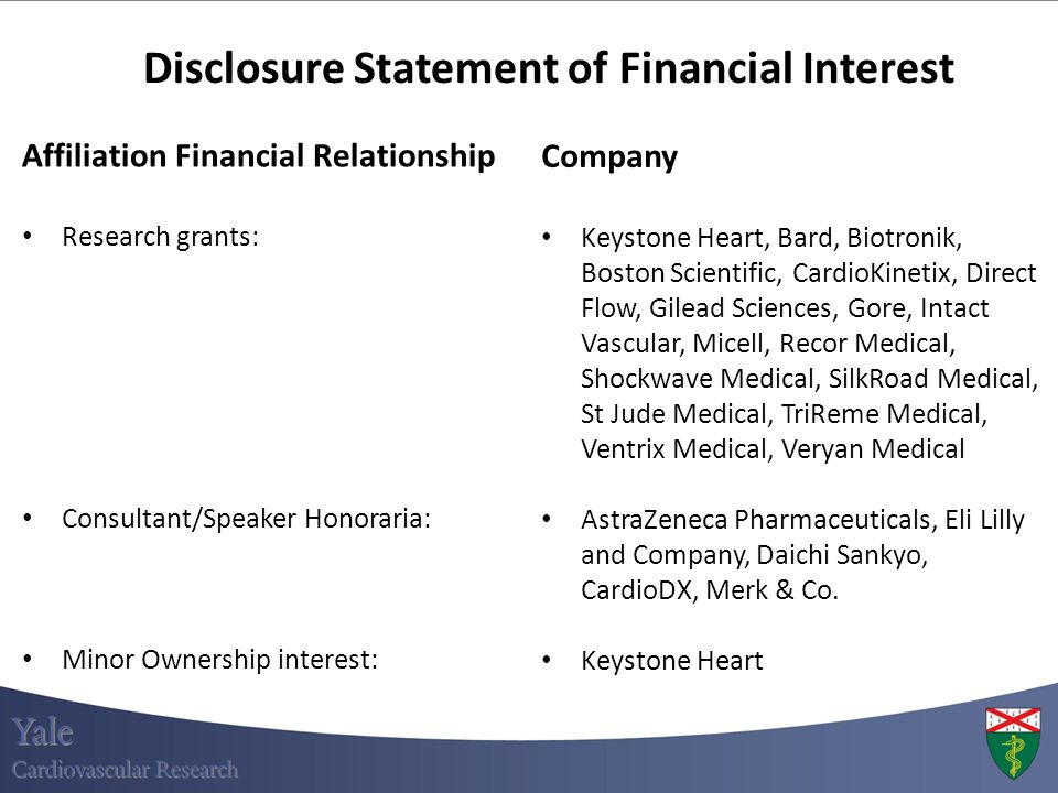 Disclosure Statement of Financial Interest Affiliation Financial Relationship Research grants: Consultant/Speaker Honoraria: Minor Ownership interest: