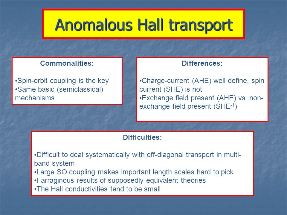 Anomalous Hall transport Commonalities: Spin-orbit coupling is the key Same basic (semiclassical) mechanisms Differences: Charge-current (AHE) well define, spin current (SHE) is not Exchange field present (AHE) vs.
