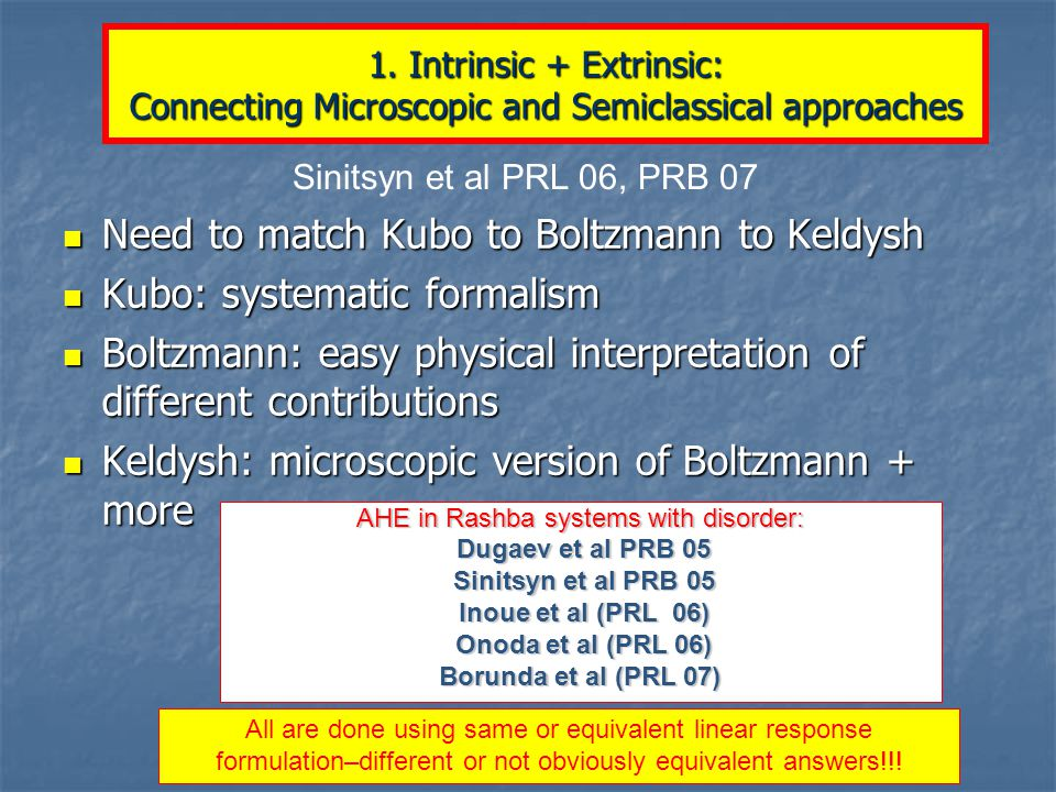 Need to match Kubo to Boltzmann to Keldysh Need to match Kubo to Boltzmann to Keldysh Kubo: systematic formalism Kubo: systematic formalism Boltzmann: easy physical interpretation of different contributions Boltzmann: easy physical interpretation of different contributions Keldysh: microscopic version of Boltzmann + more Keldysh: microscopic version of Boltzmann + more 1.