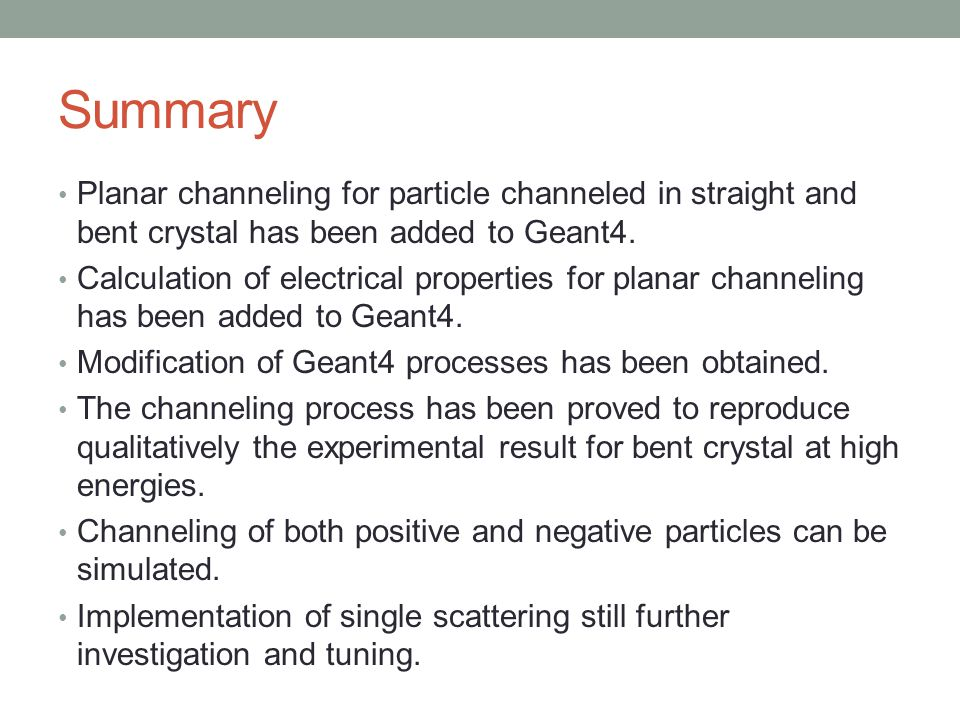 Planar channeling for particle channeled in straight and bent crystal has been added to Geant4. Calculation of electrical properties for planar channe