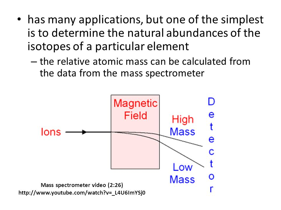 has many applications, but one of the simplest is to determine the natural abundances of the isotopes of a particular element – the relative atomic mass can be calculated from the data from the mass spectrometer Mass spectrometer video (2:26) http://www.youtube.com/watch v=_L4U6ImYSj0