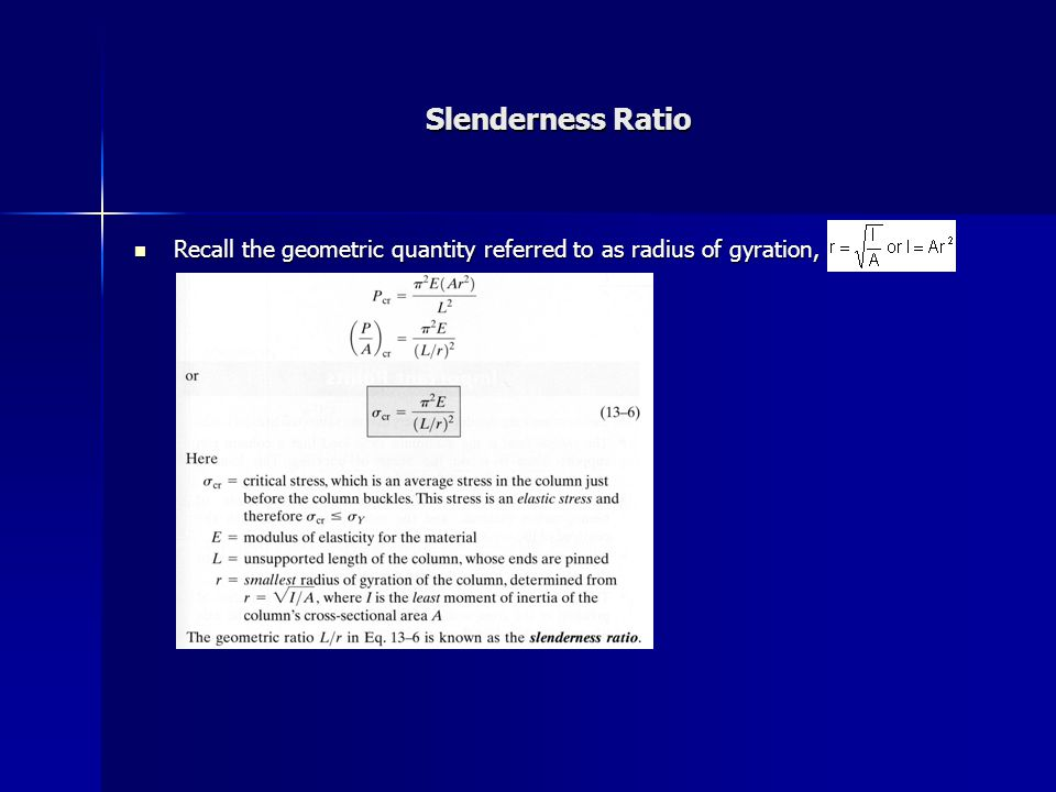 Slenderness Ratio Recall the geometric quantity referred to as radius of gyration, Recall the geometric quantity referred to as radius of gyration,
