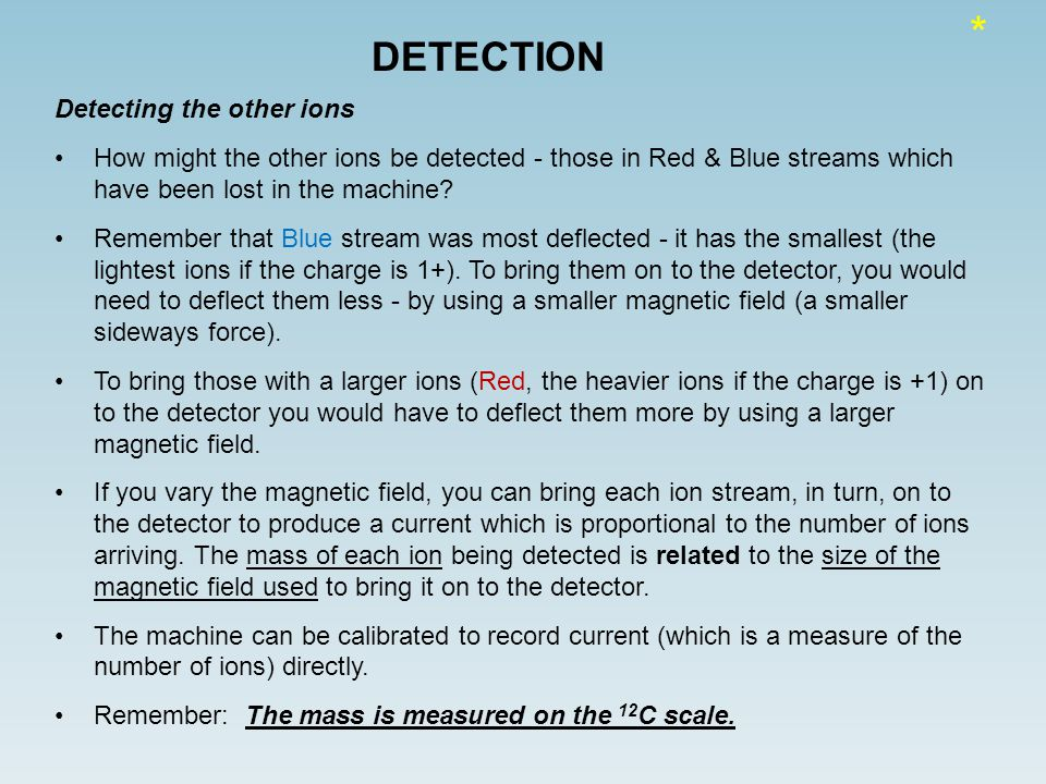 DETECTION Detecting the other ions How might the other ions be detected - those in Red & Blue streams which have been lost in the machine.