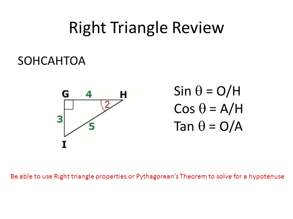 Right Triangle Review SOHCAHTOA Sin  = O/H Cos  = A/H Tan  = O/A Be able to use Right triangle properties or Pythagorean's Theorem to solve for a hypotenuse