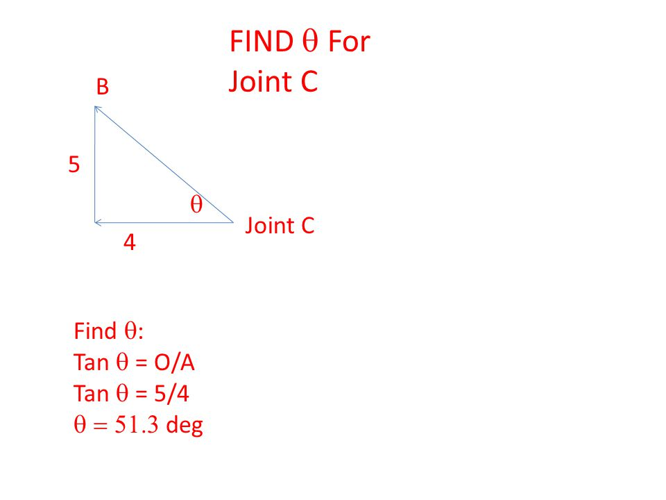 Joint C Find  : Tan  = O/A Tan  = 5/4  deg  FIND  For Joint C B 4 5