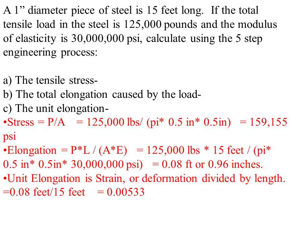 A 1 diameter piece of steel is 15 feet long.