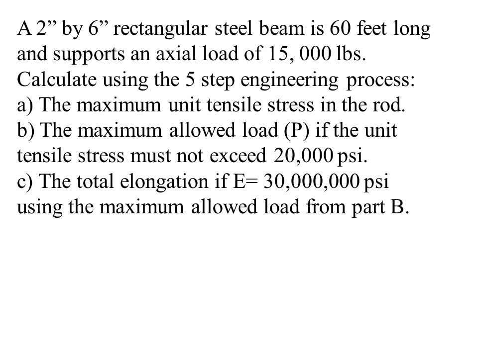 A 2 by 6 rectangular steel beam is 60 feet long and supports an axial load of 15, 000 lbs.