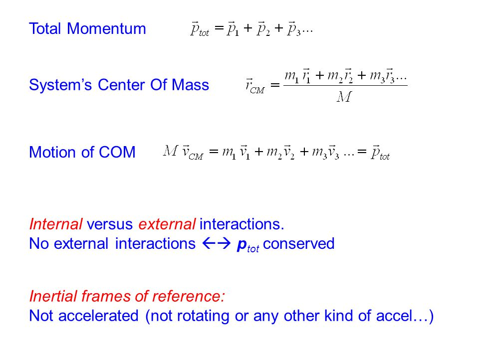 Total Momentum System's Center Of Mass Internal versus external interactions. No external interactions  p tot conserved Motion of COM Inertial frame