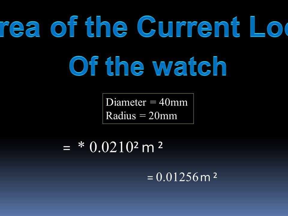 Diameter = 40mm Radius = 20mm = * 0.0210 ² m ² = 0.01256 m ²