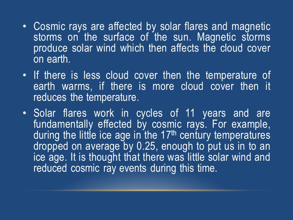 Cosmic rays are affected by solar flares and magnetic storms on the surface of the sun.