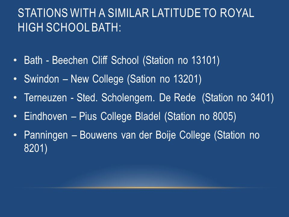 STATIONS WITH A SIMILAR LATITUDE TO ROYAL HIGH SCHOOL BATH: Bath - Beechen Cliff School (Station no 13101) Swindon – New College (Sation no 13201) Terneuzen - Sted.