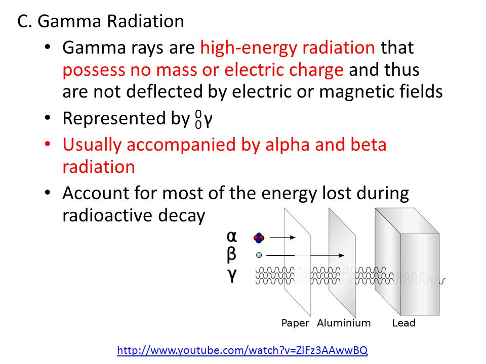 C. Gamma Radiation Gamma rays are high-energy radiation that possess no mass or electric charge and thus are not deflected by electric or magnetic fie