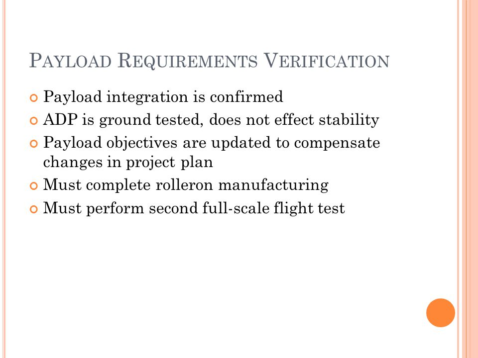 P AYLOAD R EQUIREMENTS V ERIFICATION Payload integration is confirmed ADP is ground tested, does not effect stability Payload objectives are updated to compensate changes in project plan Must complete rolleron manufacturing Must perform second full-scale flight test