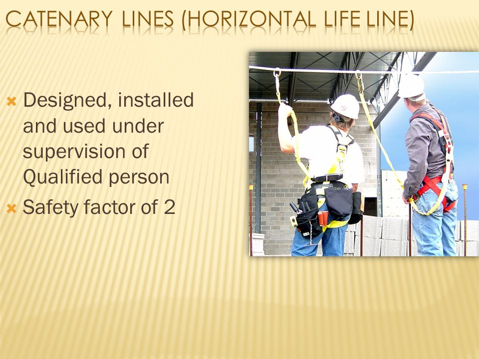  Designed, installed and used under supervision of Qualified person  Safety factor of 2