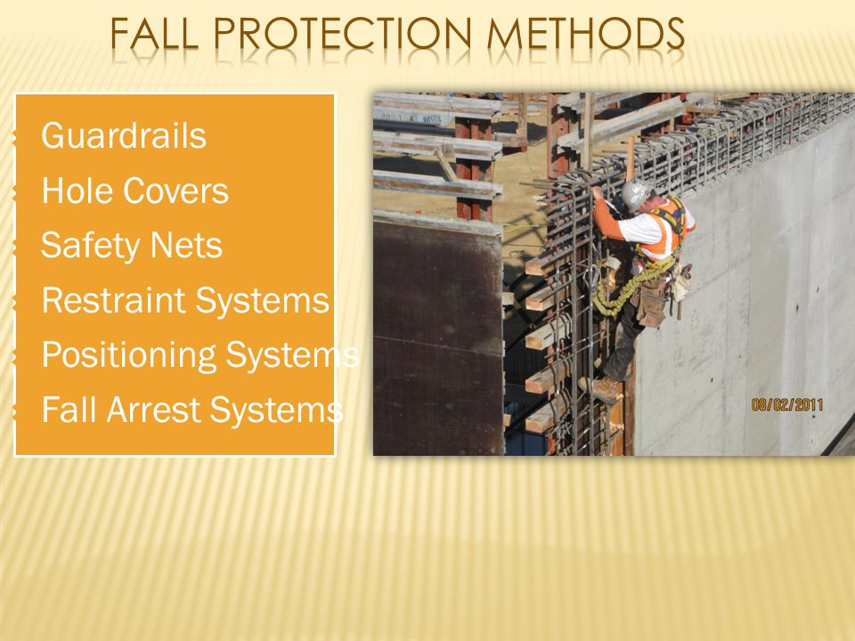  Guardrails  Hole Covers  Safety Nets  Restraint Systems  Positioning Systems  Fall Arrest Systems