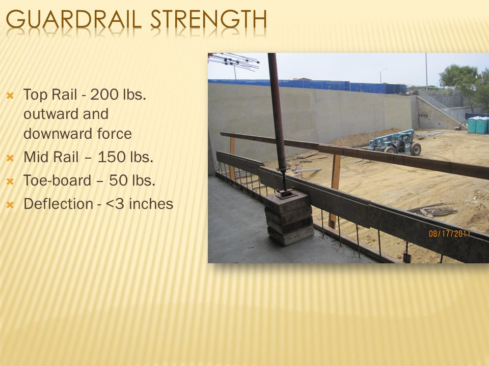  Top Rail - 200 lbs. outward and downward force  Mid Rail – 150 lbs.  Toe-board – 50 lbs.  Deflection - <3 inches