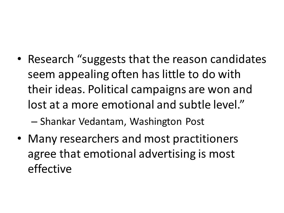 Research suggests that the reason candidates seem appealing often has little to do with their ideas.