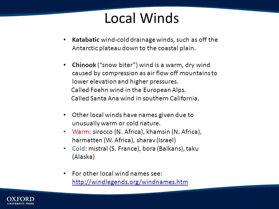 "Local Winds Katabatic wind-cold drainage winds, such as off the Antarctic plateau down to the coastal plain. Chinook (""snow biter"") wind is a warm, dr"