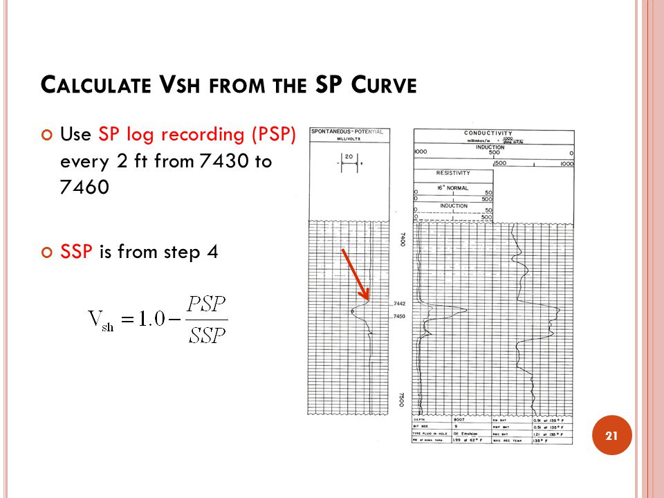 C ALCULATE V SH FROM THE SP C URVE 21 Use SP log recording (PSP) every 2 ft from 7430 to 7460 SSP is from step 4