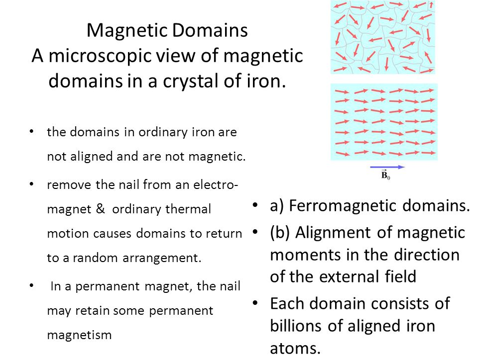 Magnetic Domains A microscopic view of magnetic domains in a crystal of iron. the domains in ordinary iron are not aligned and are not magnetic. remov