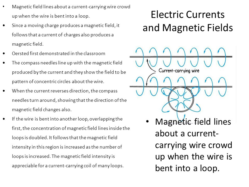 Electric Currents and Magnetic Fields Magnetic field lines about a current-carrying wire crowd up when the wire is bent into a loop.  Since a moving