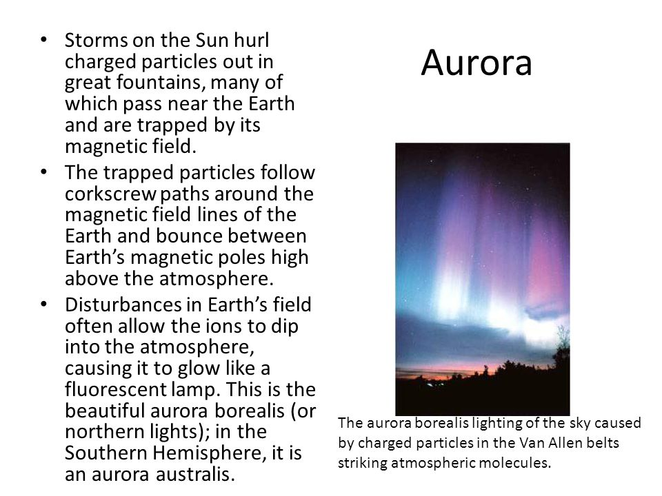 Aurora Storms on the Sun hurl charged particles out in great fountains, many of which pass near the Earth and are trapped by its magnetic field. The t