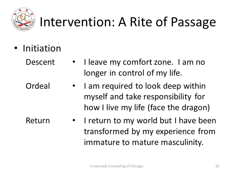 Intervention: A Rite of Passage Initiation Descent Ordeal Return I leave my comfort zone.