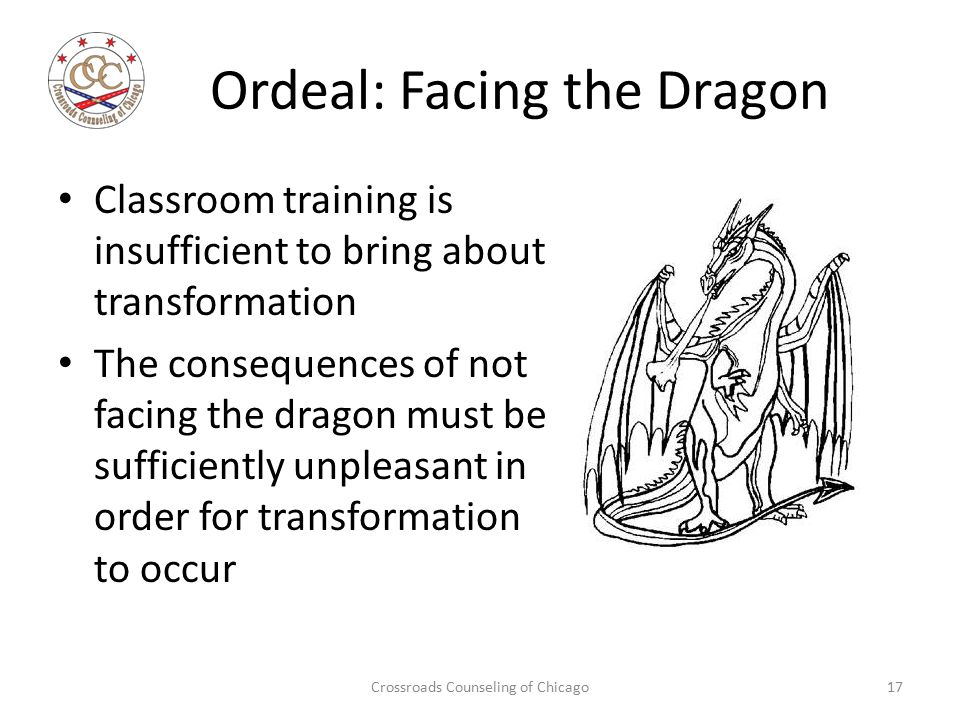 Ordeal: Facing the Dragon Classroom training is insufficient to bring about transformation The consequences of not facing the dragon must be sufficien