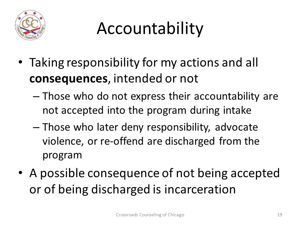 Accountability Taking responsibility for my actions and all consequences, intended or not – Those who do not express their accountability are not accepted into the program during intake – Those who later deny responsibility, advocate violence, or re-offend are discharged from the program A possible consequence of not being accepted or of being discharged is incarceration Crossroads Counseling of Chicago19