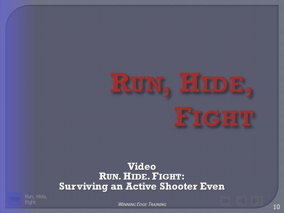 10 W INNING E DGE T RAINING Video R UN. H IDE. F IGHT : Surviving an Active Shooter Even Run, Hide, Fight