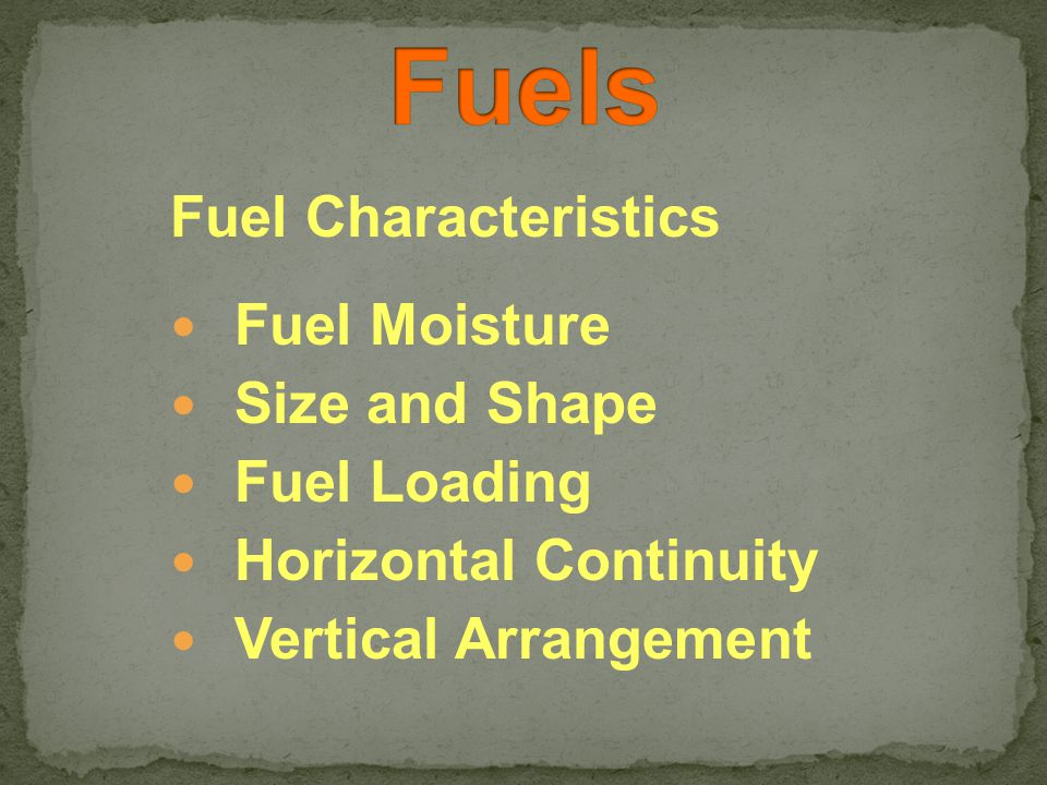 Fuel Characteristics Fuel Moisture Size and Shape Fuel Loading Horizontal Continuity Vertical Arrangement