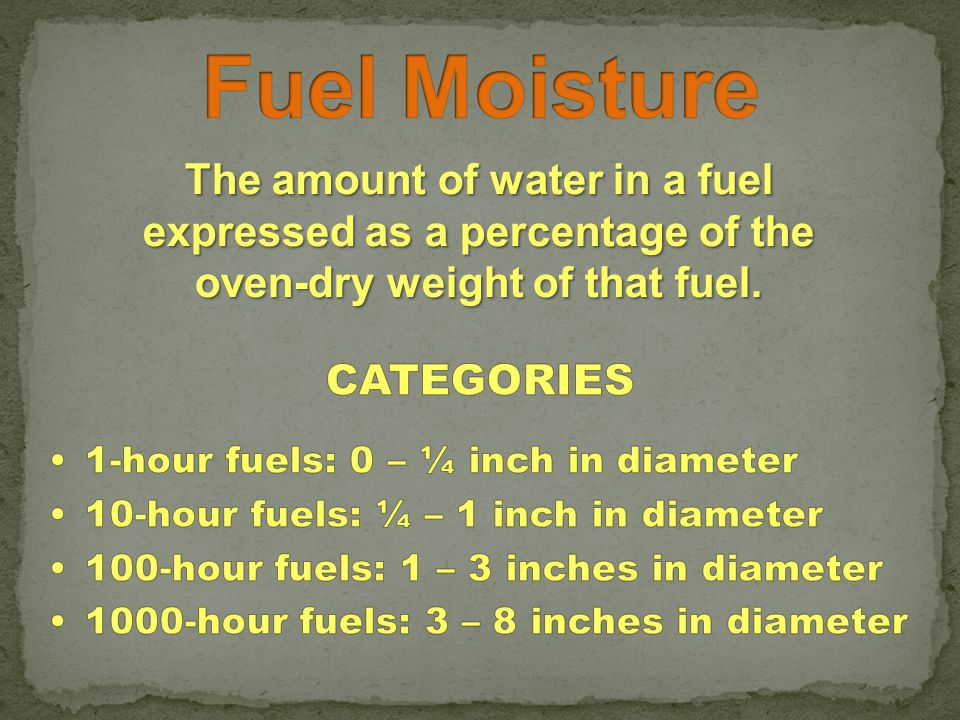 The amount of water in a fuel expressed as a percentage of the oven-dry weight of that fuel.