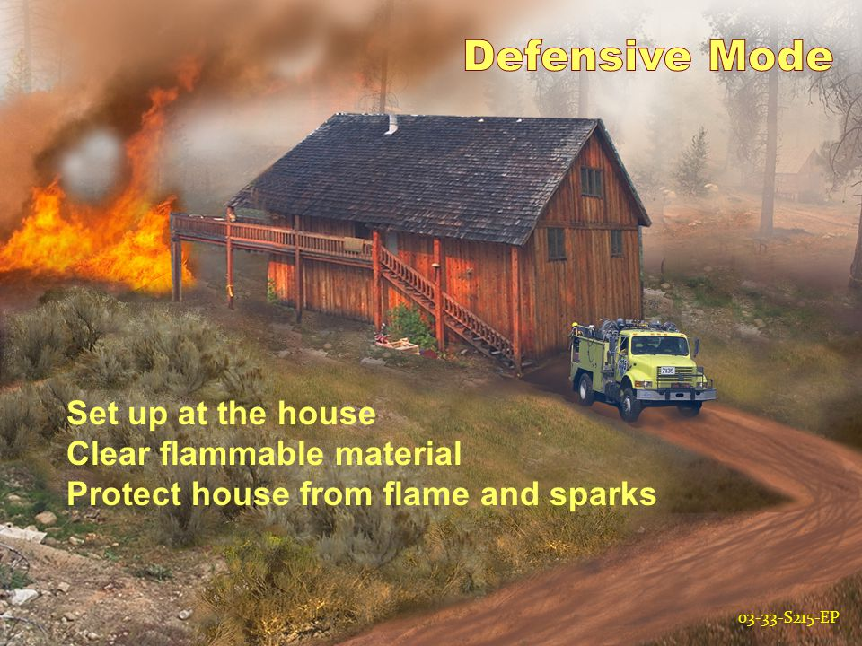 03-33-S215-EP Set up at the house Clear flammable material Protect house from flame and sparks