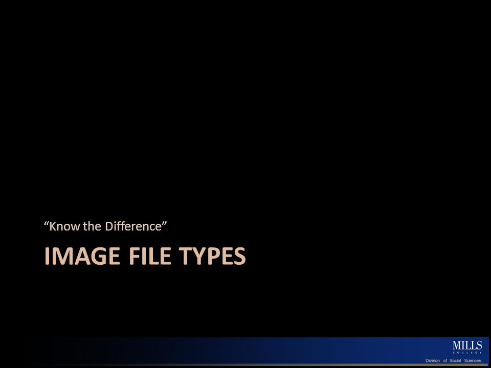 IMAGE FILE TYPES Know the Difference