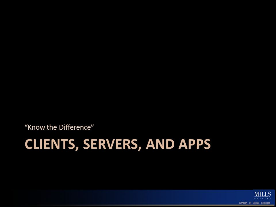 Servers and Clients Multiple meanings, but …boils down to… A division of labor in which… …a single server entity provides some service for multiple distributed client entities May refer to hardware or software