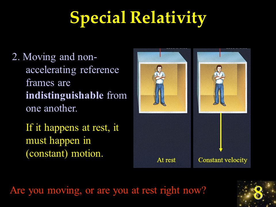 8 Special Relativity 2 Main Postulates: 1. The speed of light is always c.