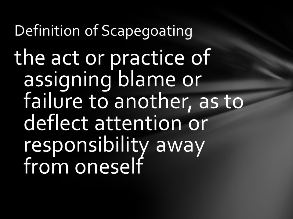 Scapegoating In the Crucible