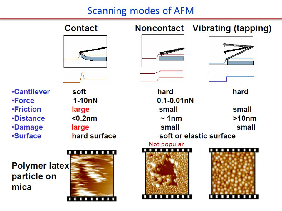 Scanning modes of AFM Not popular