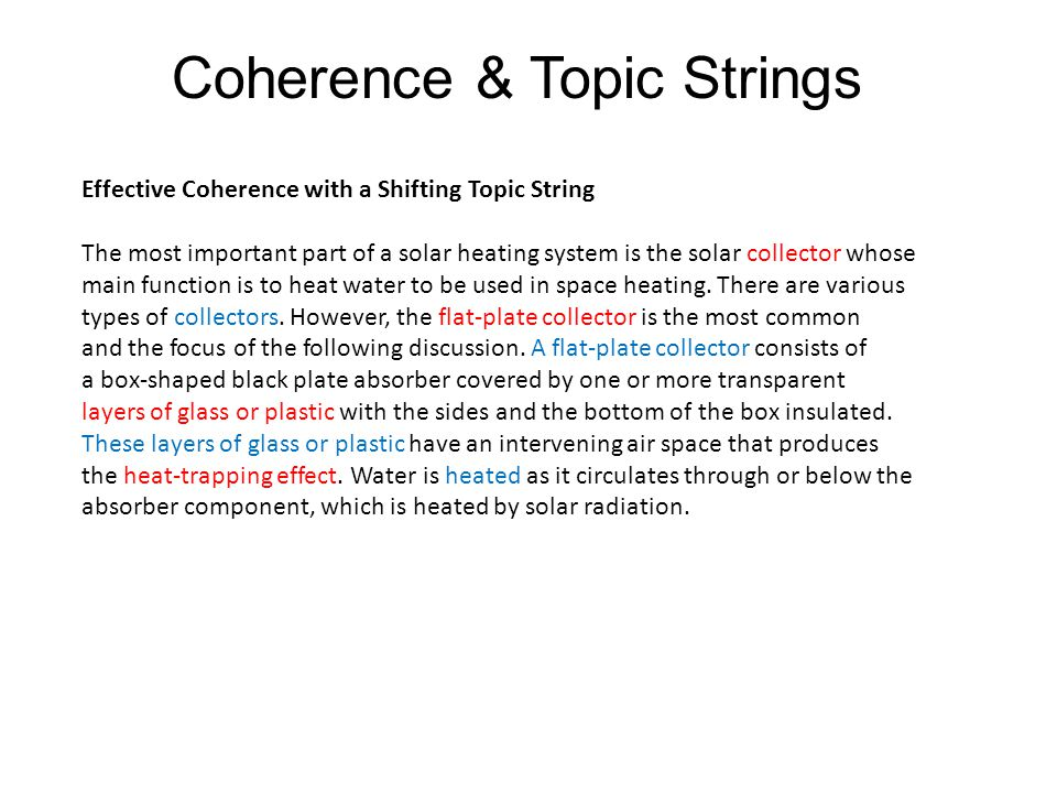 Effective Coherence with a Shifting Topic String The most important part of a solar heating system is the solar collector whose main function is to heat water to be used in space heating.