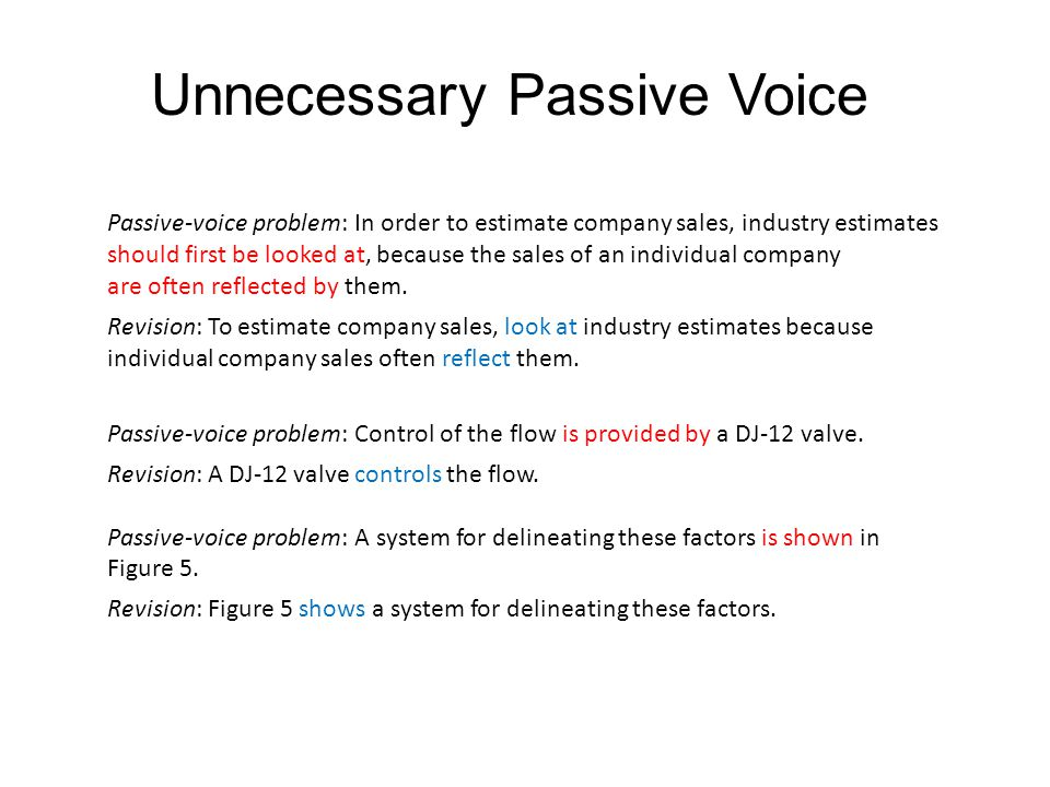 Unnecessary Passive Voice Passive-voice problem: In order to estimate company sales, industry estimates should first be looked at, because the sales of an individual company are often reflected by them.