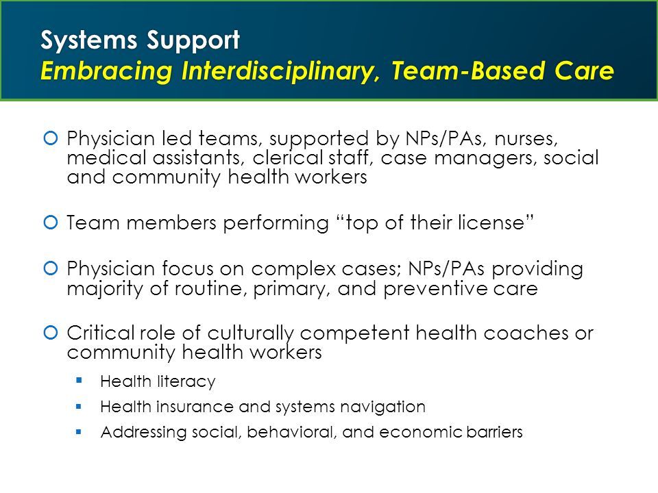 Systems Support Embracing Interdisciplinary, Team-Based Care  Physician led teams, supported by NPs/PAs, nurses, medical assistants, clerical staff, case managers, social and community health workers  Team members performing top of their license  Physician focus on complex cases; NPs/PAs providing majority of routine, primary, and preventive care  Critical role of culturally competent health coaches or community health workers  Health literacy  Health insurance and systems navigation  Addressing social, behavioral, and economic barriers