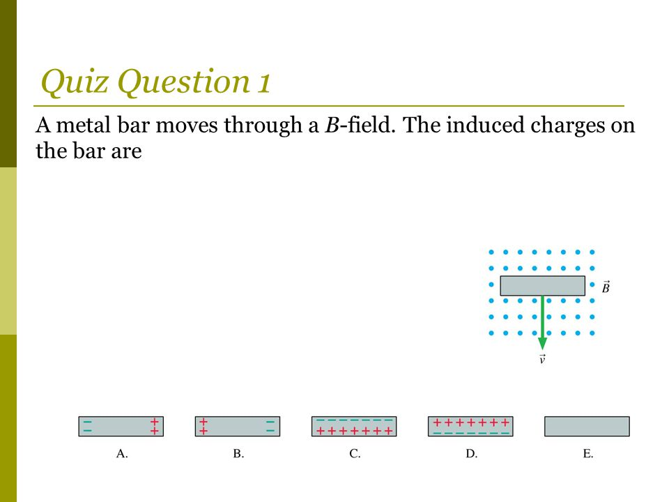 A metal bar moves through a B-field. The induced charges on the bar are Quiz Question 1