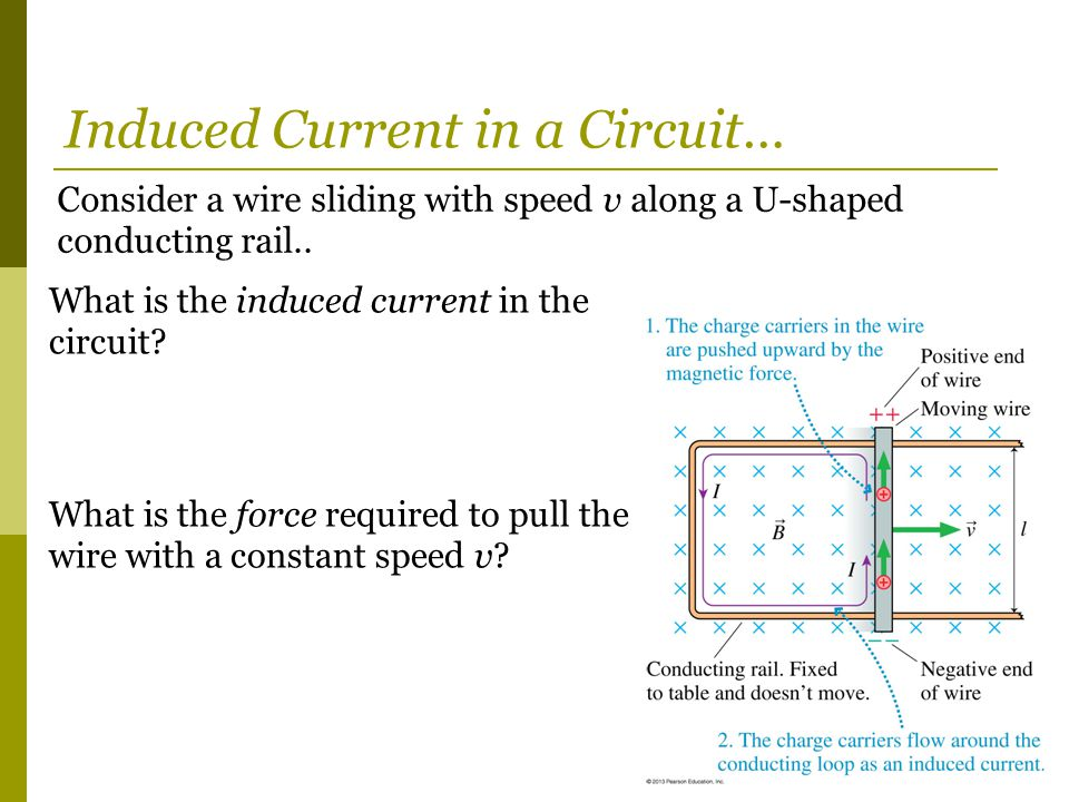 Consider a wire sliding with speed v along a U-shaped conducting rail.. What is the induced current in the circuit? What is the force required to pull