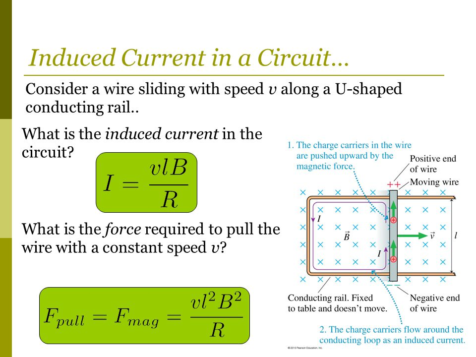 Consider a wire sliding with speed v along a U-shaped conducting rail.. Induced Current in a Circuit… What is the induced current in the circuit? What