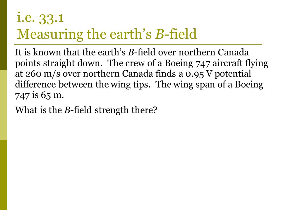 It is known that the earth's B-field over northern Canada points straight down.