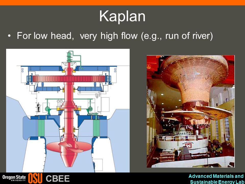 Advanced Materials and Sustainable Energy Lab CBEE Kaplan For low head, very high flow (e.g., run of river)